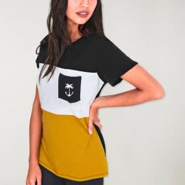 Unisex T-Shirt Black Patch Pocket Tropical Anchor SALES!!!