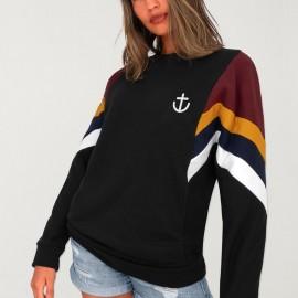 Sweatshirt Damen Schwarz Patch Best Mini Anchor