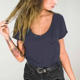 T-shirt à col en V Femme Océan Minimal Anchor