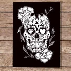 Ilustración Negra Mexican Skull