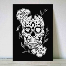 Illustration Noir Mexican Skull