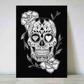 Illustration Noir Mexican Skull