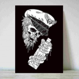 "Ilustración "" The Drunk Skull Sailor BK """