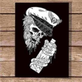 "Ilustración "" The Drunk Skull Sailor BK """