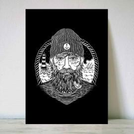 Illustration Schwarz Dark Captain DIN A3